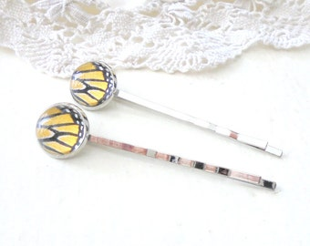 Butterfly Wing Hair Pins, Monarch Butterfly, Feminine Hair Accessories