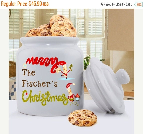 Christmas Elves Cookie Jar - Holiday Ceramic Cookie Jars - Personalized Cookie Jars