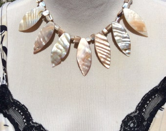 Shell necklace, vintage 80s necklace made from shells with silver tone chain and clasp.