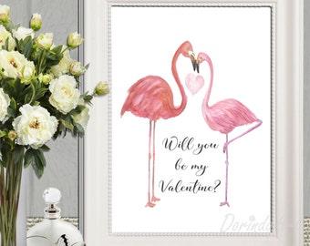 Will you be my Valentine print Digital Valentine card Love birds Valentine decor Couples gifts Large Valentine sign 5x7 8x10 16x20 DOWNLOAD