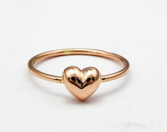14k Rose Gold Heart Ring - Delicate Heart Ring - Stackable Gold Ring - Dainty Heart Ring.FREE SHIPPING.