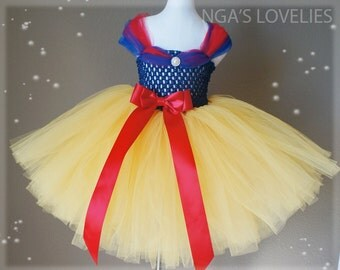 Disney Inspired Snow White Princess tutu dress- baby tutu dress- flower tutu dress- pageant tutu dress- pageant dress