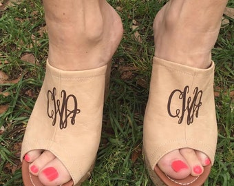 Monogram Beige Wedge Shoes