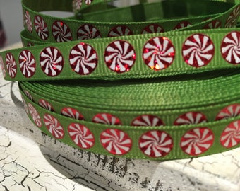"3 yards 3/8"" Christmas Red Foil Peppermint on green grosgrain"