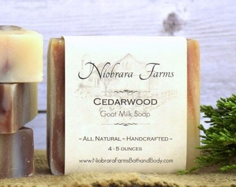 All Natural Cedarwood Goat Milk Soap - Handmade Goat Milk Soap - Handcrafted Soap Bar - All Natural Woodsman Soap - Soap for Men