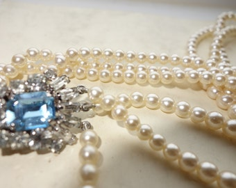Vintage Art Deco  three stranded pearl necklace with beautiful Diamanté Clasp  SALE WAS 42.00 NOW 30.00