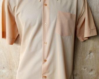Men's Vintage Nylon Masterbuilt Oxford Shirt / Short Sleeve/  Size L / Latte/ 1950s