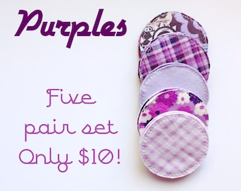 Purples, randomly selected, cloth nursing pads, reusable nursing pads