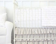 Vintage Lace Ruffle Designer Baby Bedding | 2 or 3 Pc Gender Neutral Crib Set | Taupe and White Love Letters Collection