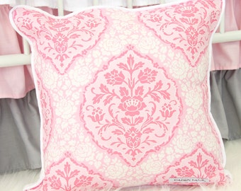 Delaney's Pink and Gray Damask Square Pillow | damask accent pillow