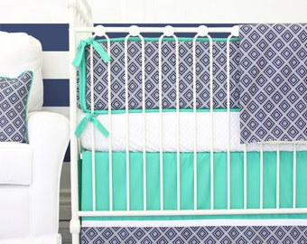 25% OFF SALE- Gavin's Navy Geometric Baby Crib Bedding | 2 or 3 Piece Set