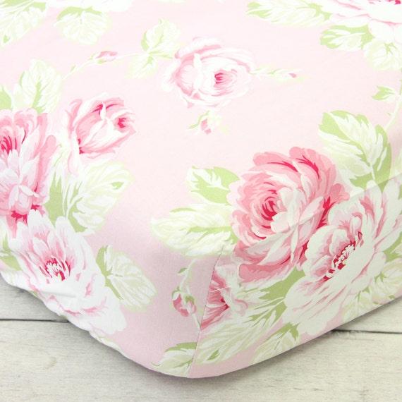 Shabby Chic Rose Pink Floral Crib Sheet Vintage Sweet