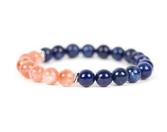 Sodalite Bracelet, Sunstone Bracelet, Natural Gemstone Bracelet, Gemstone Bracelet, Handmade Jewelry, Gemstone Jewelry