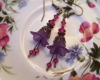 Lucite Flower Earrings Purple with Fuschia Swarovski Elements