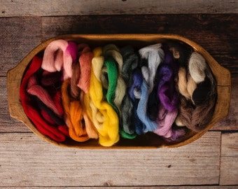 Wool Roving For Needle Felting or Wet Felting 5 oz. Value Scrap Bag Rainbow Pack of Many Colors