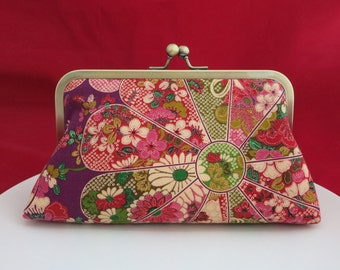 Clutch Purse, Japanese Purse, Women's Wallet, Evening Bag, Frame Purse, Kimono Floral Blossom, Bridesmaid Gift, Japanese Fabric Gift for Her