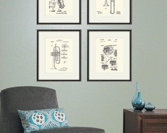 Brass Instrument Patent Art Music Print Poster Wall Vintage Decor Musical