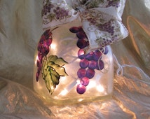 Decorative Hand Painted Wine/Patron Bottle with Lights - Grape Cluster Design Accent Light