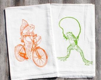 Cotton Kitchen Towel Set of 2 - Screen Printed Organic Cotton - Flour Sack Dish Towel - Frog and Fish on Bike Tea Towels