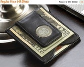 Personalized Leather Wallet & Money Clip - Black Leather Money Clip - Brown Leather Money Clip - Monogram Money Clip - Gifts for Him -