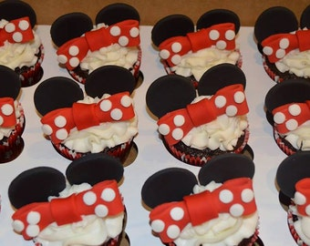 12 Fondant Minnie Mouse Cupcake Toppers, minnie mouse cupcake topper