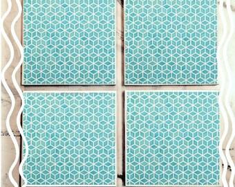 Geometric Light Blue Tile Coasters