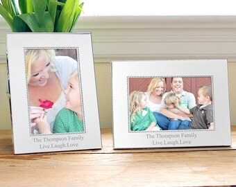 Beaded Silver Picture Frame Horizontal  or Vertical