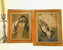 Hands in prayer 2 embroidered on the table Embroidered stained glass Souvenir for home Prayer Ecclesiastical embroidery