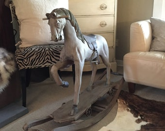 Rocking Carousel Horse Large Solid Wood Grey Childs Riding Vintage Horse Shabby Chic Rustic Primitive French Nordic Decor Farm House
