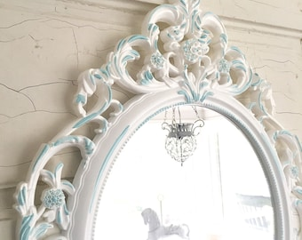 White Baroque Mirror Shabby Cottage Chic Nursery Ornate Mirror Wall Hanging Mirror with Turquoise Blue