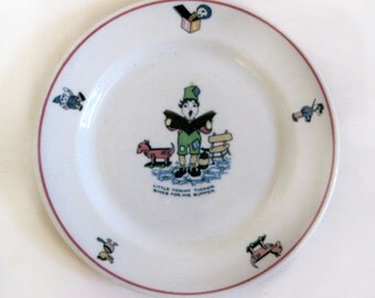 Shenango Tommy Tucker Child's ABC Plate RimRol Restaurant Ware USA Vintage