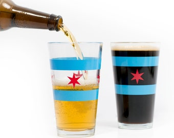 Chicago Flag Pint Glass - Chicago-themed gift, Chicago keepsake, Chicago souvenir