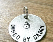 Owned by Daddy Charm, I Belong to Daddy charm, Slave charm, DDlg pendant, 1 inch alkeme disc, BDSM collar charm, Daddy's girl, baby girl