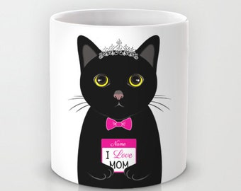 Personalized mug cup designed PinkMugNY - I love MOM - Black Cat - Mother's Day