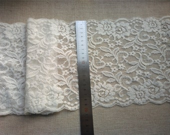 "Off white Plum flower  wedding lace,Stretch Lace Trim - Extra Wide Lace Trim, 7.8"" Wide Lace Trim- off white lace"