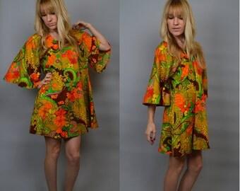 70s HIPPIE Flower Power Bell Sleeve Mini Dress Small Xs