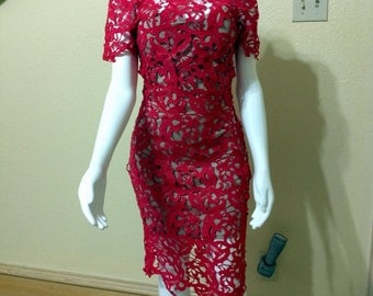 Art Deco Guipure dress Tomato Red Bridal gown bridesmaid lace Short formal dress Tomato Red prom Lace dress.size small