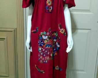 Traditional Mexican Dress,Embroidered Oaxacan Tunic Boho Cherry Red with floral embroidery Hippie Ethnic,Folk Dress,Bohemian Dress Red L XL
