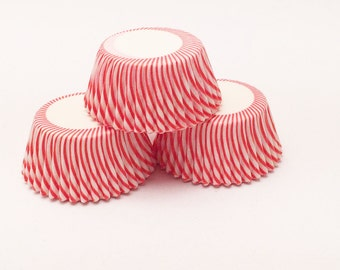 48 Red Pisa Stripe Mini Size Cupcake Liners Baking Cups Greaseproof