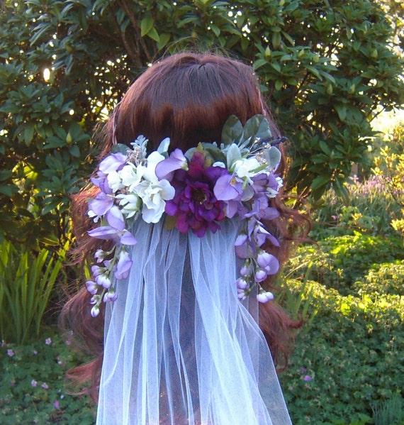 Flower Crown Purple: Purple Flower Crown Lavender Wisteria White Cherry Blossom