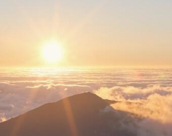 Haleakala Volcano Sunrise Color Photo Print { sunshine, sunlight, yellow, sky, clouds, wall art, macro, nature & fine art photography }