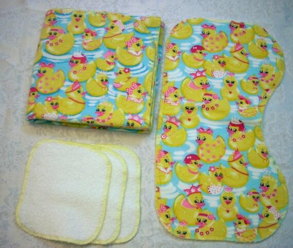 Wash Cloths As Burp Cloths: Receiving Blanket Burp Cloth Wash Cloths Rubber Duckie