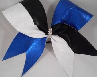 Cheer Bow Royal Black White Glitter w Rhinestone Center by BlingItOnCheerBowz