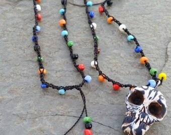 Skull Bead Crochet Necklace