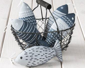 Soft Fabric Fish - gray decoration fish, stuffed fish, cotton fish, scandinavian decor, toy fish, Home decor fish.