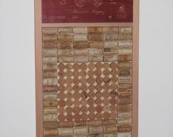 Wine cork board with authentic wine crate plaque