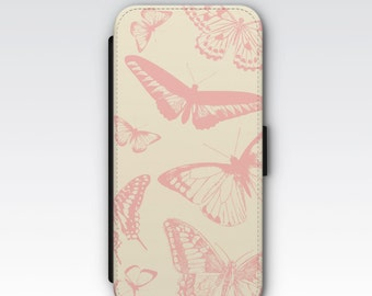 Wallet Case for iPhone 8 Plus, iPhone 8, iPhone 7 Plus, iPhone 7, iPhone 6, iPhone 6s, iPhone 5/5s - Vintage Pink Butterflies Phone Case