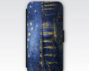 Wallet Case for iPhone 8 Plus, iPhone 8, iPhone 7 Plus, iPhone 7, iPhone 6, iPhone 6s, iPhone 5/5s -  Starry Night Over The Rhone Van Gogh