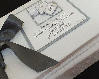 Diamond Wedding Anniversary Guest Book, Diamond Wedding Gift