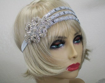 Great Gatsby headpiece, Flapper headband, 1920s headband, Roaring 20s, Silver sequin headband, 1920s hair accessory, Vintage inspired